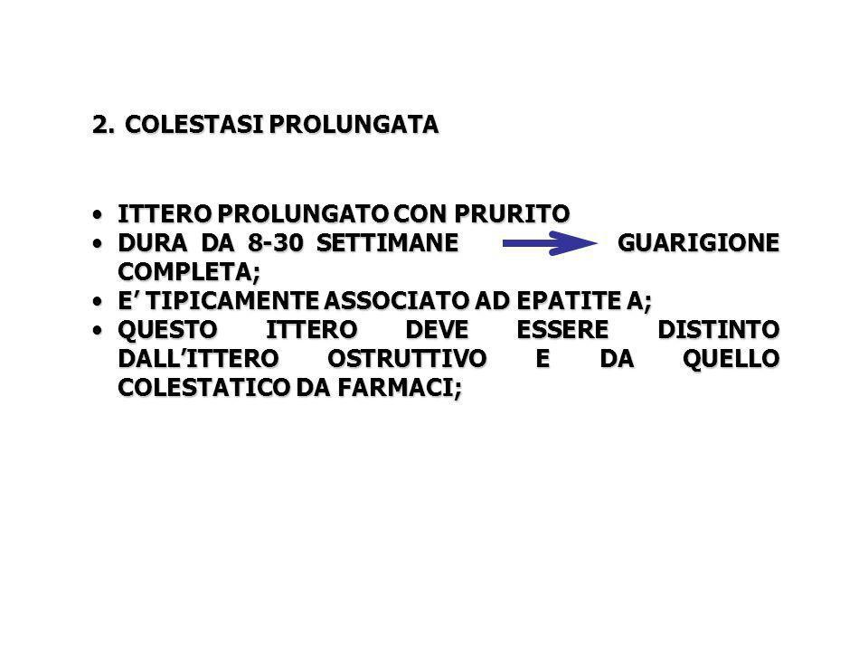 2. COLESTASI PROLUNGATA ITTERO PROLUNGATO CON PRURITO ITTERO PROLUNGATO CON PRURITO DURA DA 8-30 SETTIMANE GUARIGIONE COMPLETA; DURA DA 8-30 SETTIMANE