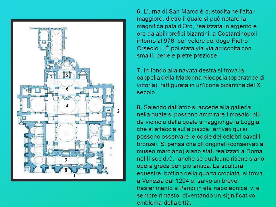 6. L'urna di San Marco è custodita nell'altar maggiore, dietro il quale si può notare la magnifica pala d'Oro, realizzata in argento e oro da abili or