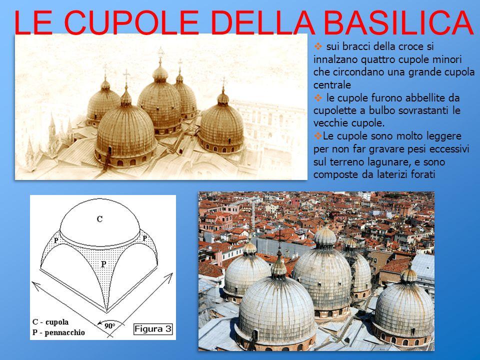 LE CUPOLE DELLA BASILICA sui bracci della croce si innalzano quattro cupole minori che circondano una grande cupola centrale le cupole furono abbellite da cupolette a bulbo sovrastanti le vecchie cupole.