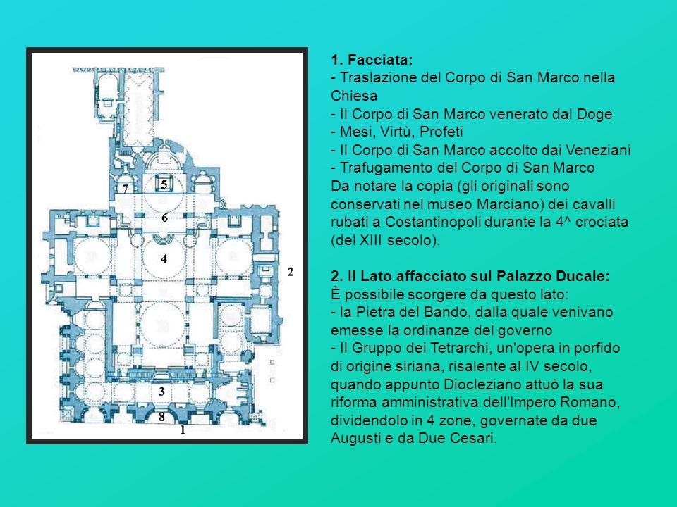 1. Facciata: - Traslazione del Corpo di San Marco nella Chiesa - Il Corpo di San Marco venerato dal Doge - Mesi, Virtù, Profeti - Il Corpo di San Marc