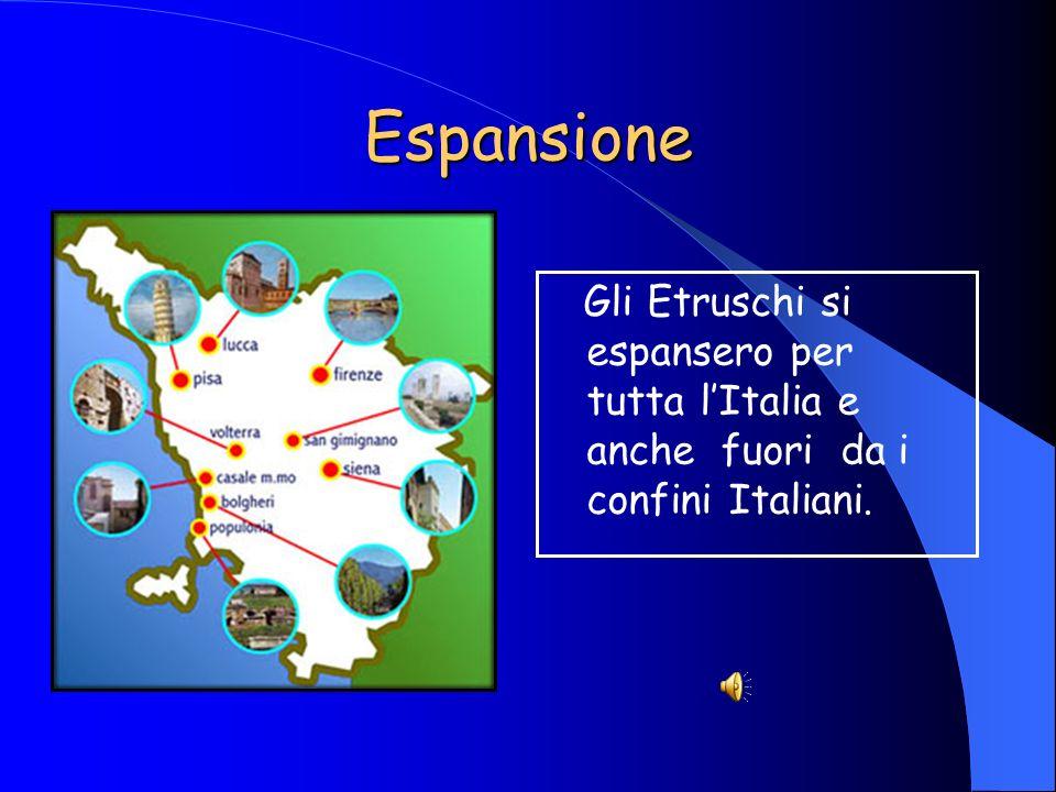 Espansione Gli Etruschi si espansero per tutta lItalia e anche fuori da i confini Italiani.