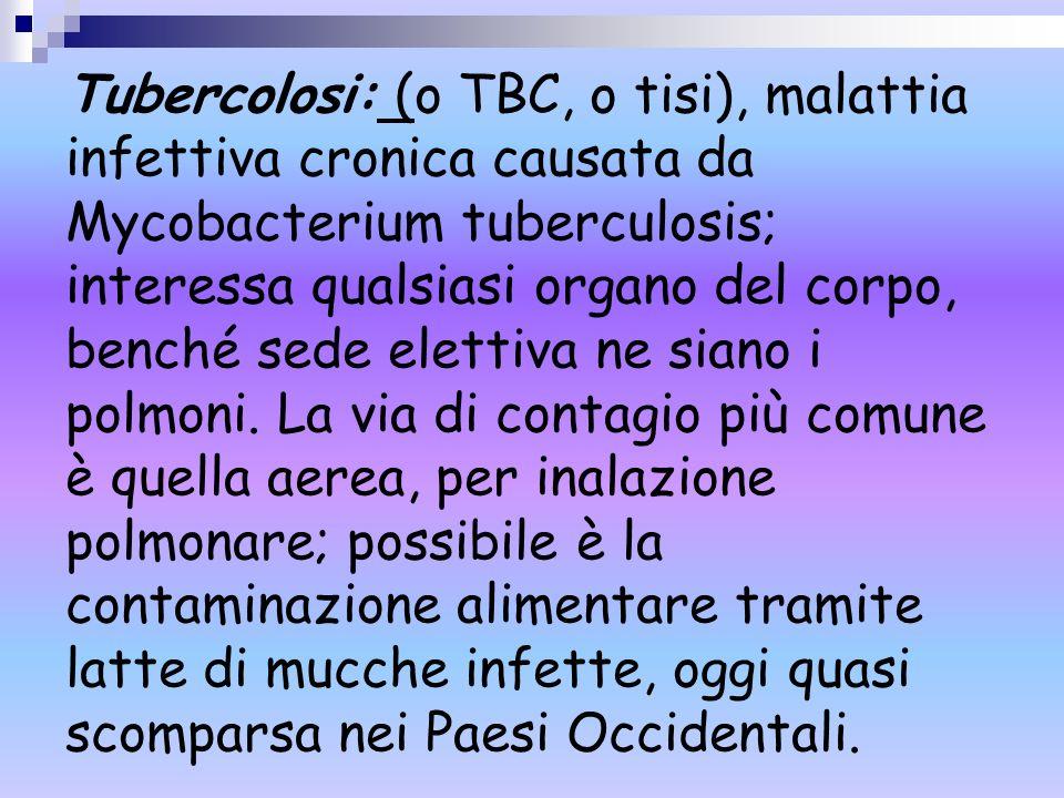 Tubercolosi: (o TBC, o tisi), malattia infettiva cronica causata da Mycobacterium tuberculosis; interessa qualsiasi organo del corpo, benché sede elet