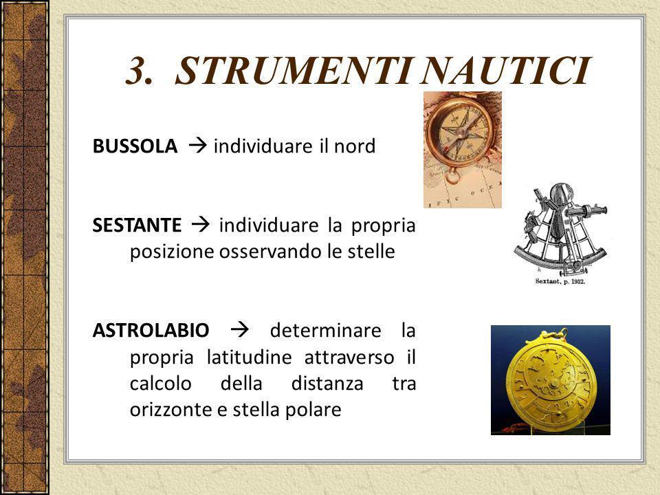 3. STRUMENTI NAUTICI BUSSOLA individuare il nord SESTANTE individuare la propria posizione osservando le stelle ASTROLABIO determinare la propria lati