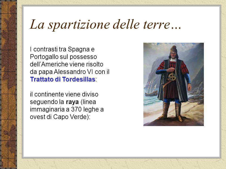 La spartizione delle terre… Trattato di Tordesillas I contrasti tra Spagna e Portogallo sul possesso dellAmeriche viene risolto da papa Alessandro VI