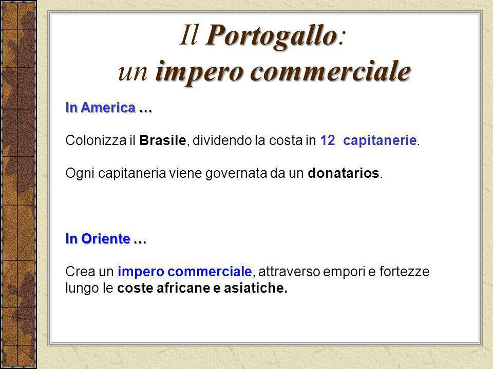 Portogallo impero commerciale Il Portogallo: un impero commerciale In America … Colonizza il Brasile, dividendo la costa in 12 capitanerie. Ogni capit