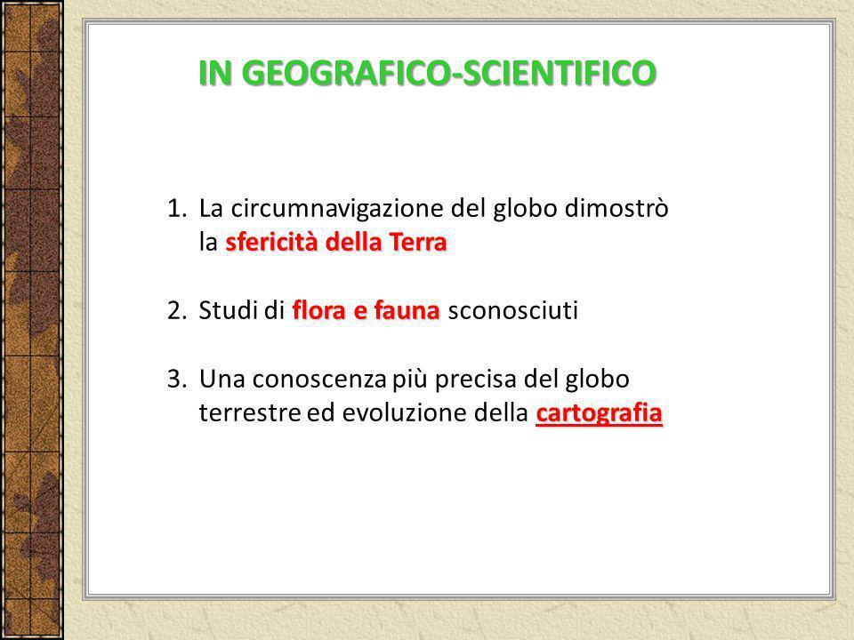 sfericità della Terra 1.La circumnavigazione del globo dimostrò la sfericità della Terra flora e fauna 2.Studi di flora e fauna sconosciuti cartografi
