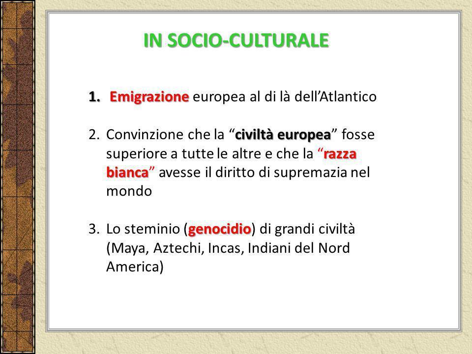 1. Emigrazione 1. Emigrazione europea al di là dellAtlantico civiltà europea razza bianca 2.Convinzione che la civiltà europea fosse superiore a tutte