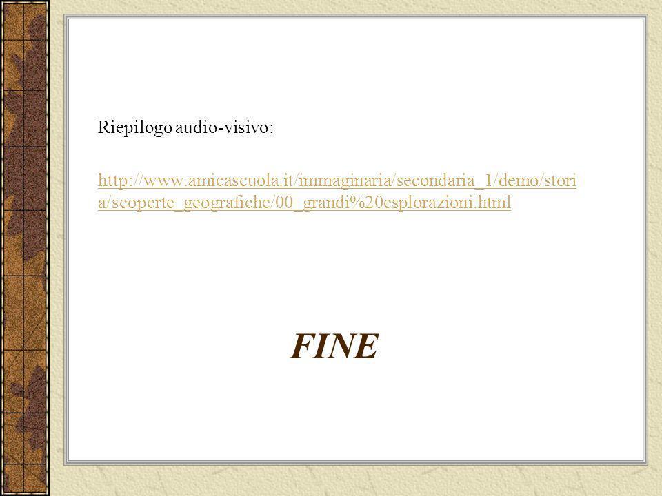 FINE Riepilogo audio-visivo: http://www.amicascuola.it/immaginaria/secondaria_1/demo/stori a/scoperte_geografiche/00_grandi%20esplorazioni.html
