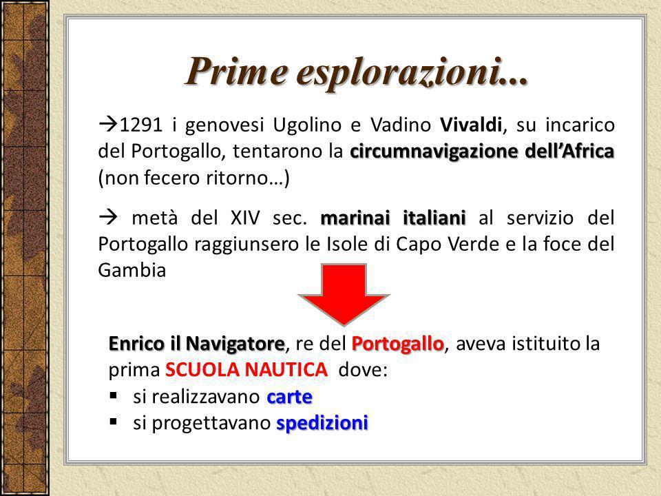Prime esplorazioni... circumnavigazione dellAfrica 1291 i genovesi Ugolino e Vadino Vivaldi, su incarico del Portogallo, tentarono la circumnavigazion