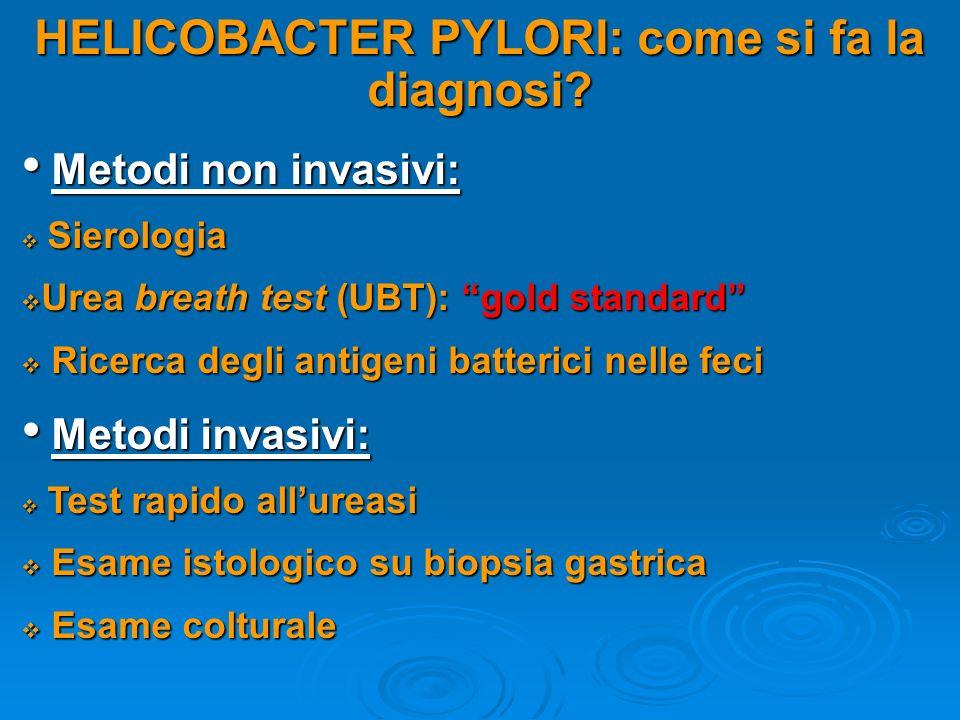 HELICOBACTER PYLORI: come si fa la diagnosi? Metodi non invasivi: Metodi non invasivi: Sierologia Sierologia Urea breath test (UBT): gold standard Ure