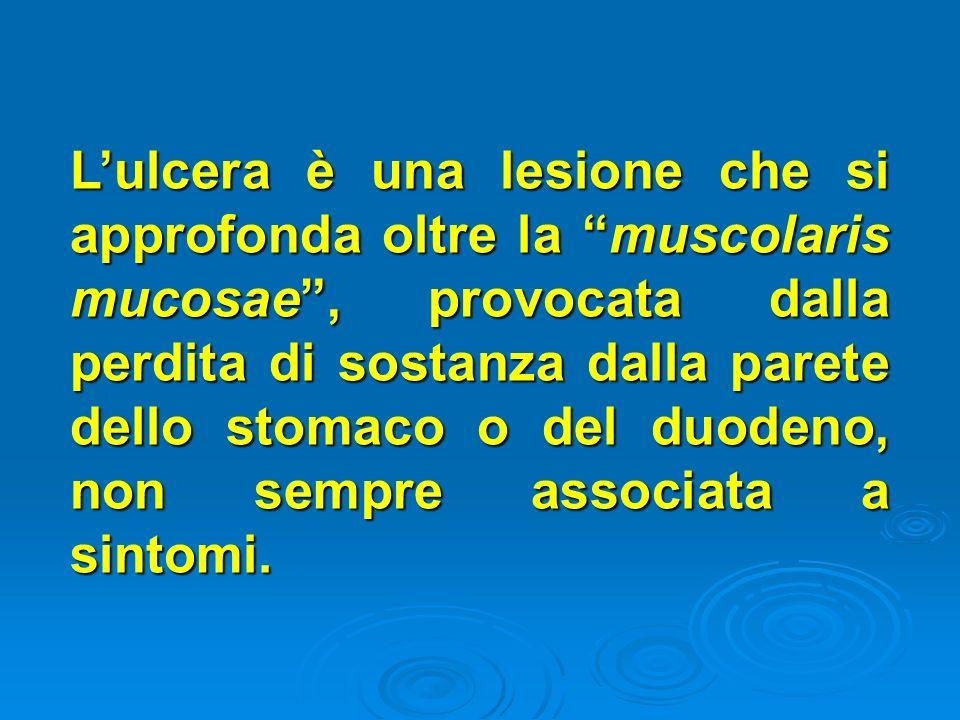 Lulcera è una lesione che si approfonda oltre la muscolaris mucosae, provocata dalla perdita di sostanza dalla parete dello stomaco o del duodeno, non