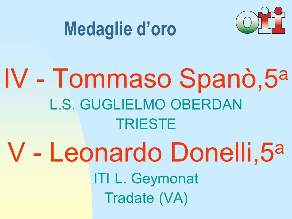IV - Tommaso Spanò,5 a L.S.GUGLIELMO OBERDAN TRIESTE V - Leonardo Donelli,5 a ITI L.
