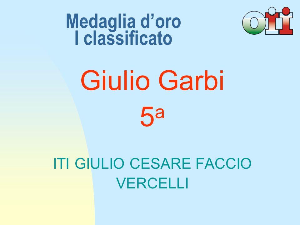 Giulio Garbi 5a5a ITI GIULIO CESARE FACCIO VERCELLI Medaglia doro I classificato