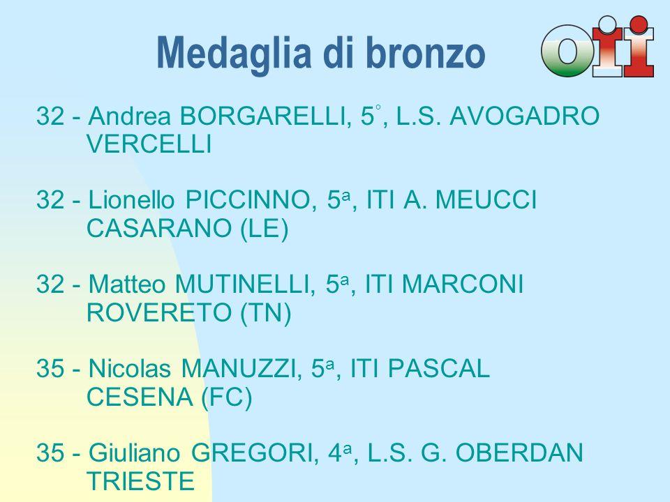 32 - Andrea BORGARELLI, 5 °, L.S.AVOGADRO VERCELLI 32 - Lionello PICCINNO, 5 a, ITI A.