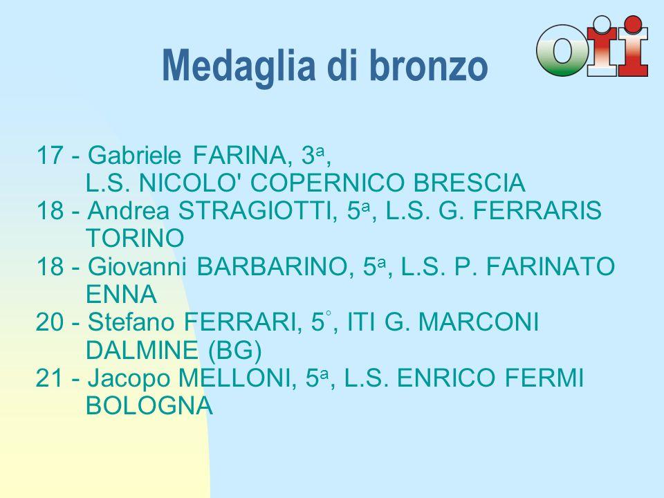 17 - Gabriele FARINA, 3 a, L.S.NICOLO COPERNICO BRESCIA 18 - Andrea STRAGIOTTI, 5 a, L.S.