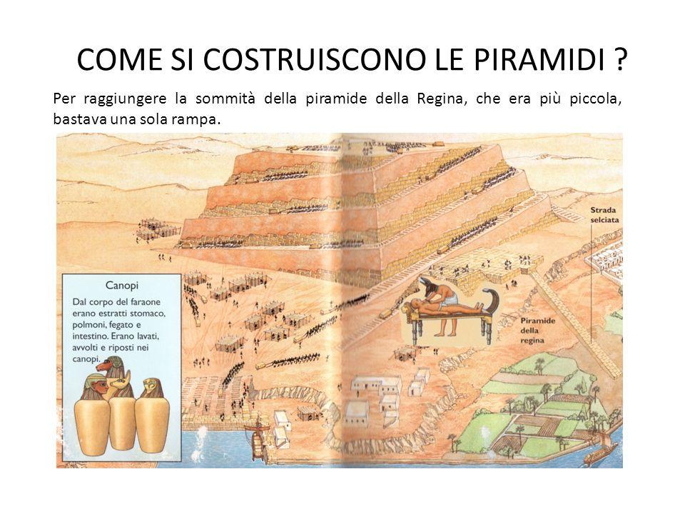 COME SI COSTRUISCONO LE PIRAMIDI ? Per raggiungere la sommità della piramide della Regina, che era più piccola, bastava una sola rampa.
