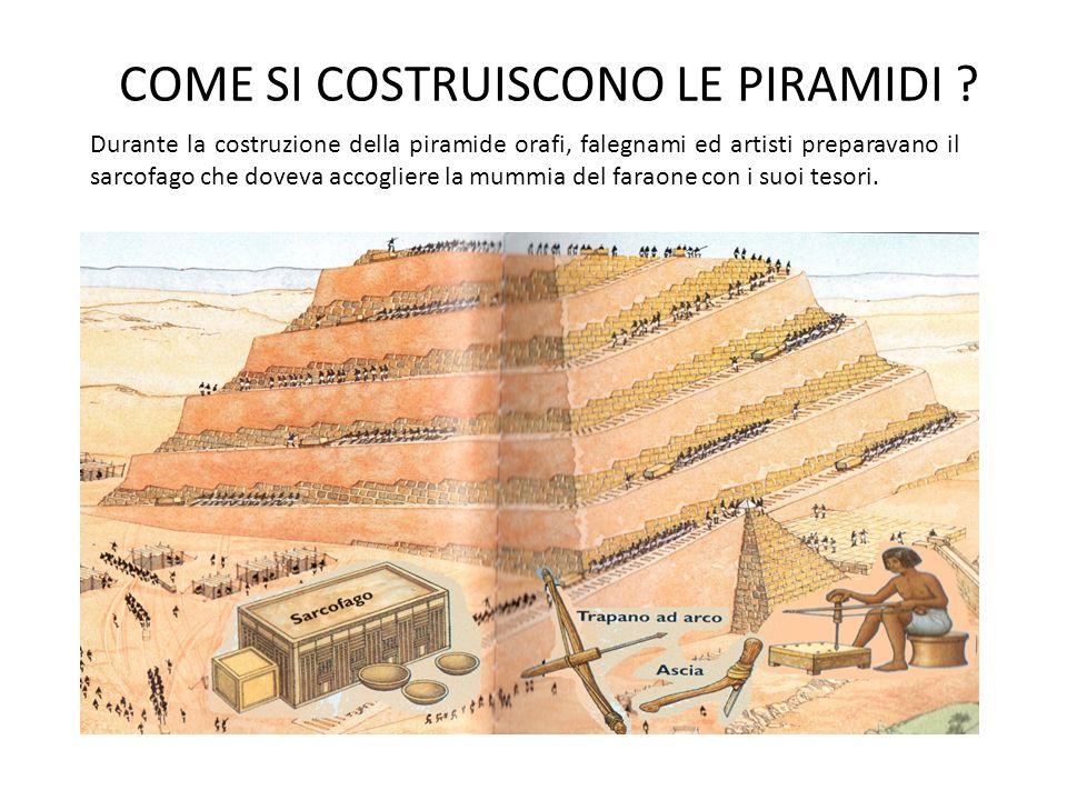 COME SI COSTRUISCONO LE PIRAMIDI ? Durante la costruzione della piramide orafi, falegnami ed artisti preparavano il sarcofago che doveva accogliere la