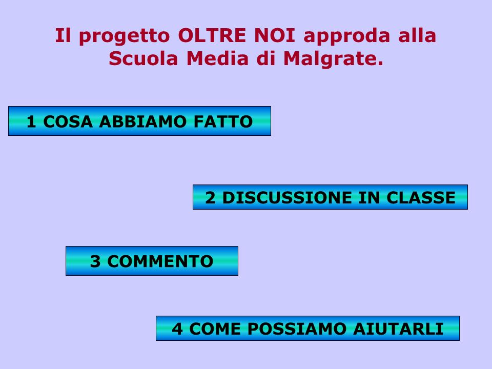 Il progetto OLTRE NOI approda alla Scuola Media di Malgrate. 4 COME POSSIAMO AIUTARLI 1 COSA ABBIAMO FATTO 3 COMMENTO 2 DISCUSSIONE IN CLASSE