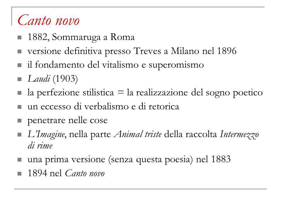 Canto novo 1882, Sommaruga a Roma versione definitiva presso Treves a Milano nel 1896 il fondamento del vitalismo e superomismo Laudi (1903) la perfez