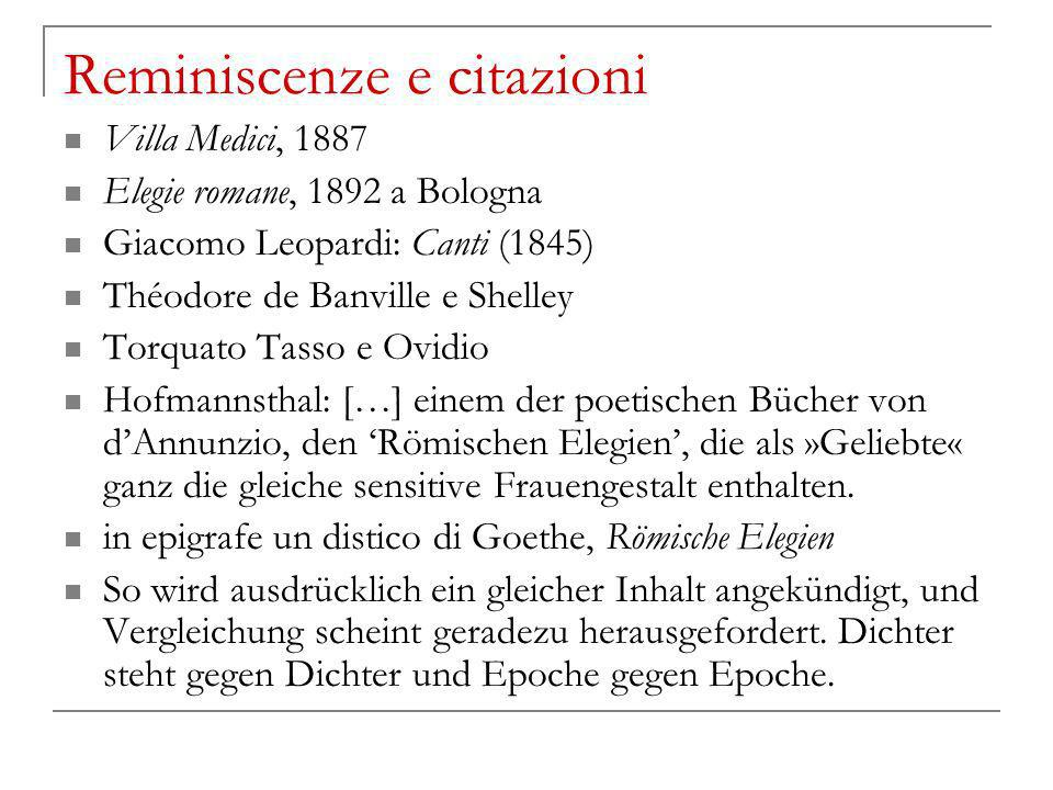 Reminiscenze e citazioni Villa Medici, 1887 Elegie romane, 1892 a Bologna Giacomo Leopardi: Canti (1845) Théodore de Banville e Shelley Torquato Tasso