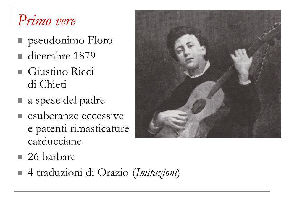 Primo vere pseudonimo Floro dicembre 1879 Giustino Ricci di Chieti a spese del padre esuberanze eccessive e patenti rimasticature carducciane 26 barbare 4 traduzioni di Orazio (Imitazioni)