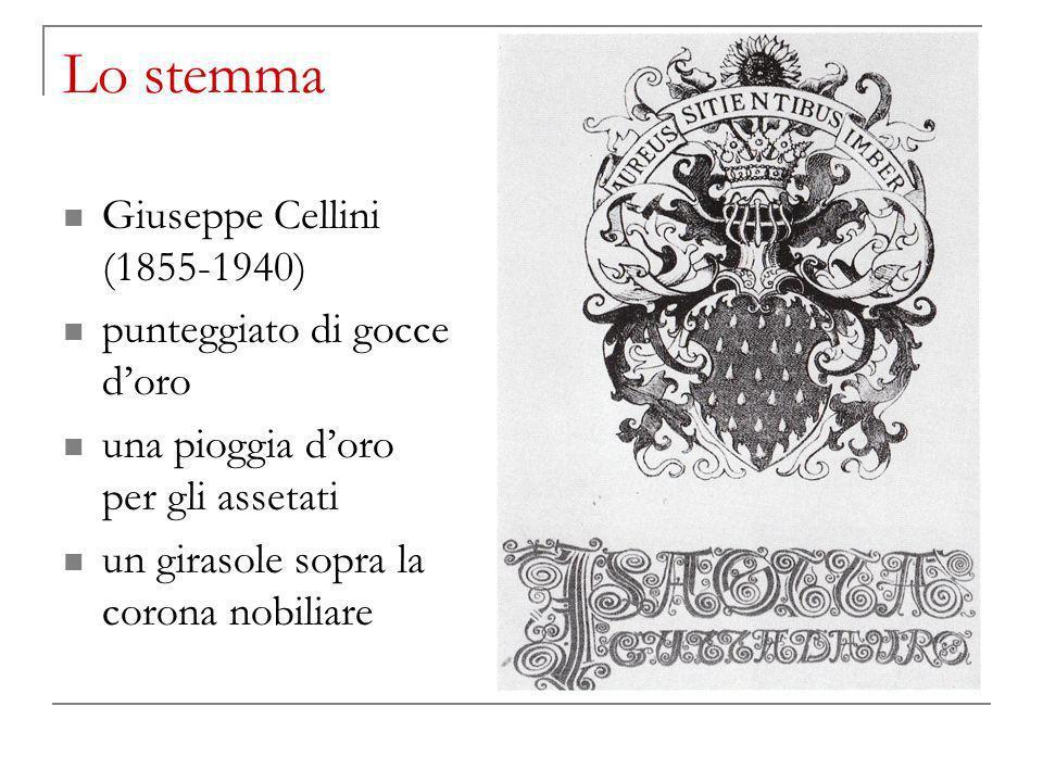 Lo stemma Giuseppe Cellini (1855-1940) punteggiato di gocce doro una pioggia doro per gli assetati un girasole sopra la corona nobiliare