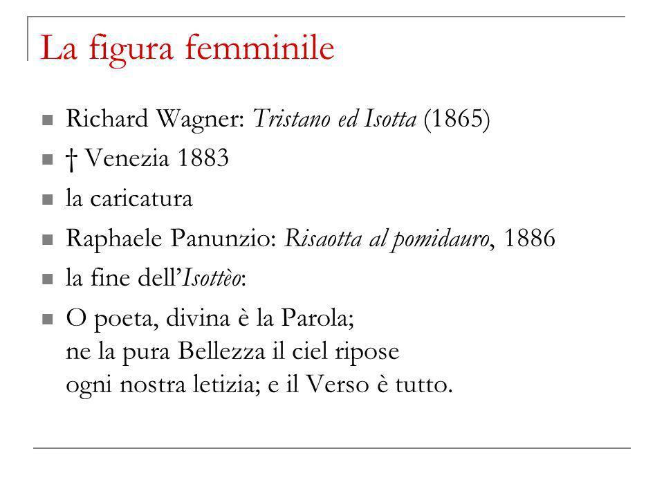 La figura femminile Richard Wagner: Tristano ed Isotta (1865) Venezia 1883 la caricatura Raphaele Panunzio: Risaotta al pomidauro, 1886 la fine dellIs
