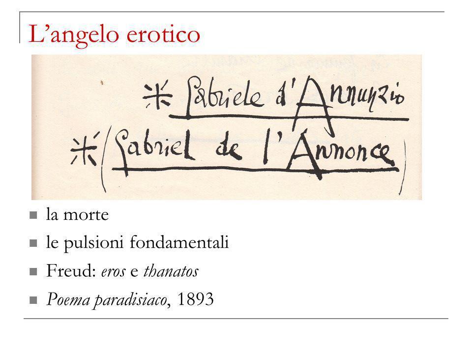 Langelo erotico la morte le pulsioni fondamentali Freud: eros e thanatos Poema paradisiaco, 1893