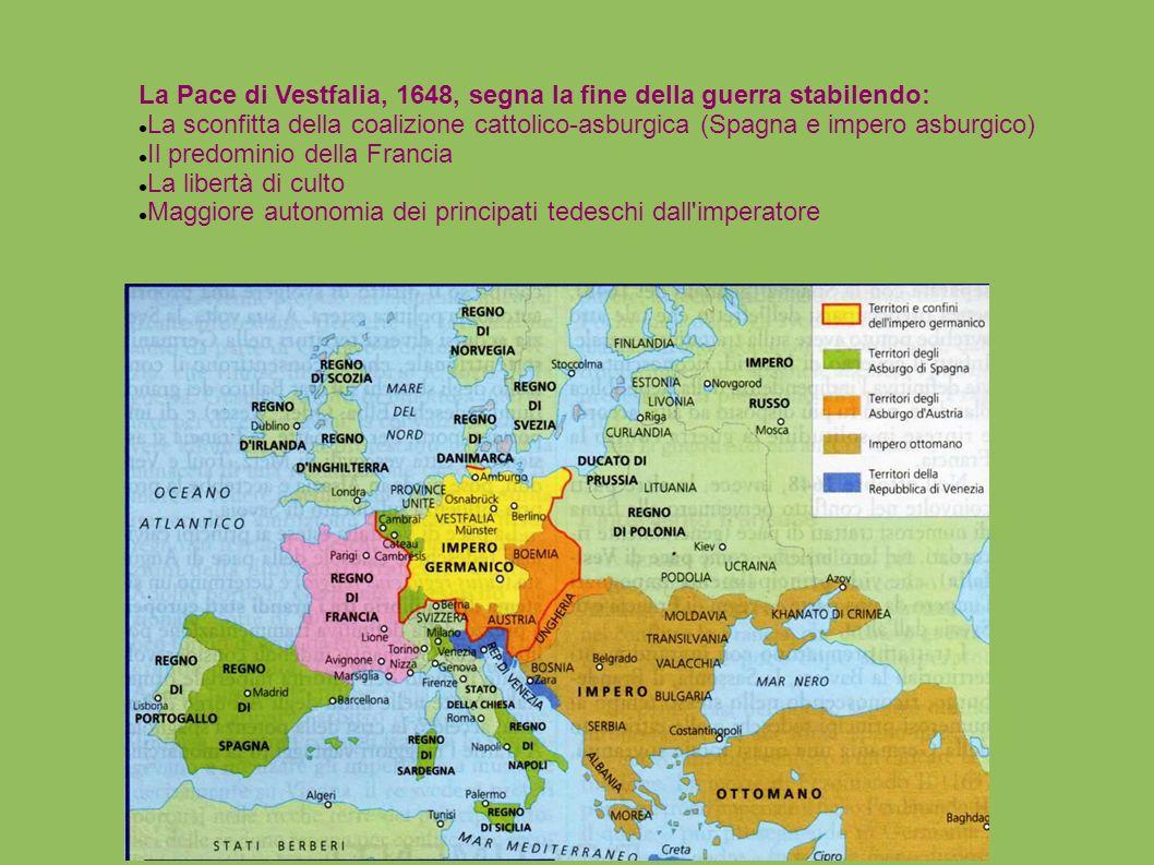 La Pace di Vestfalia, 1648, segna la fine della guerra stabilendo: La sconfitta della coalizione cattolico-asburgica (Spagna e impero asburgico) Il pr