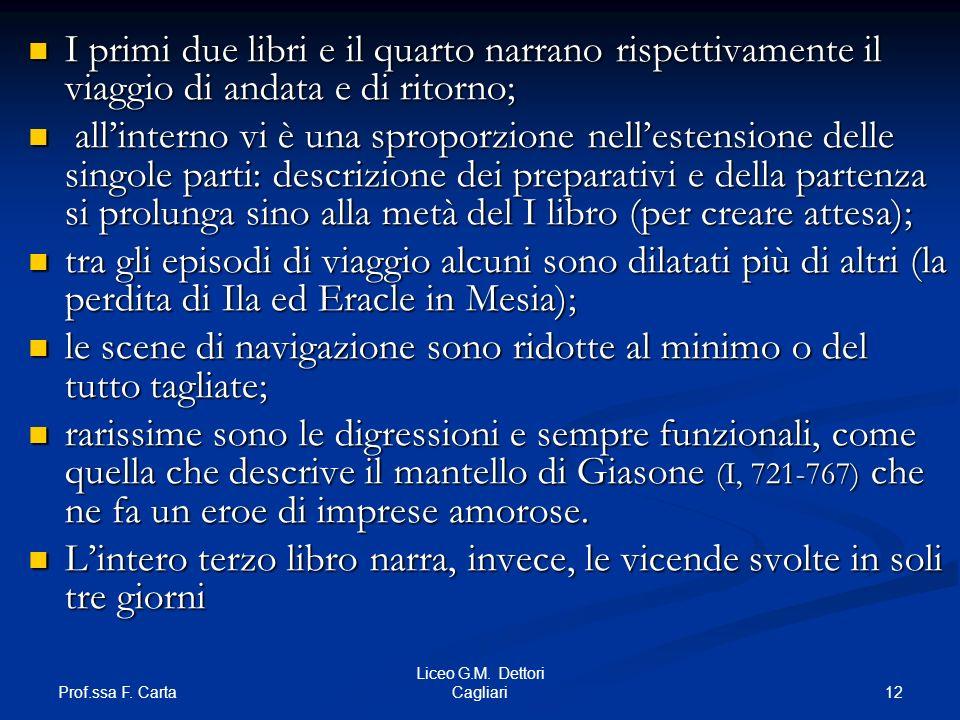 Prof.ssa F. Carta 12 Liceo G.M. Dettori Cagliari I primi due libri e il quarto narrano rispettivamente il viaggio di andata e di ritorno; I primi due