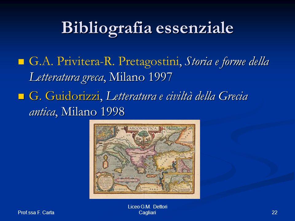 Prof.ssa F. Carta 22 Liceo G.M. Dettori Cagliari Bibliografia essenziale, Storia e forme della Letteratura greca, Milano 1997 G.A. Privitera-R. Pretag