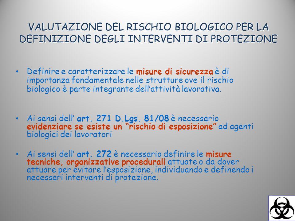VALUTAZIONE DEL RISCHIO BIOLOGICO PER LA DEFINIZIONE DEGLI INTERVENTI DI PROTEZIONE Definire e caratterizzare le misure di sicurezza è di importanza f