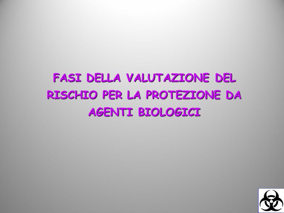 FASI DELLA VALUTAZIONE DEL RISCHIO PER LA PROTEZIONE DA AGENTI BIOLOGICI