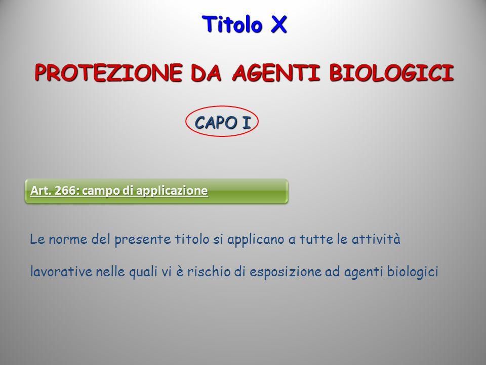 Titolo X PROTEZIONE DA AGENTI BIOLOGICI CAPO I Art. 266: campo di applicazione Le norme del presente titolo si applicano a tutte le attività lavorativ