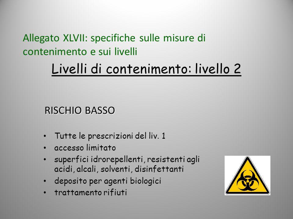 Livelli di contenimento: livello 2 Tutte le prescrizioni del liv. 1 accesso limitato superfici idrorepellenti, resistenti agli acidi, alcali, solventi