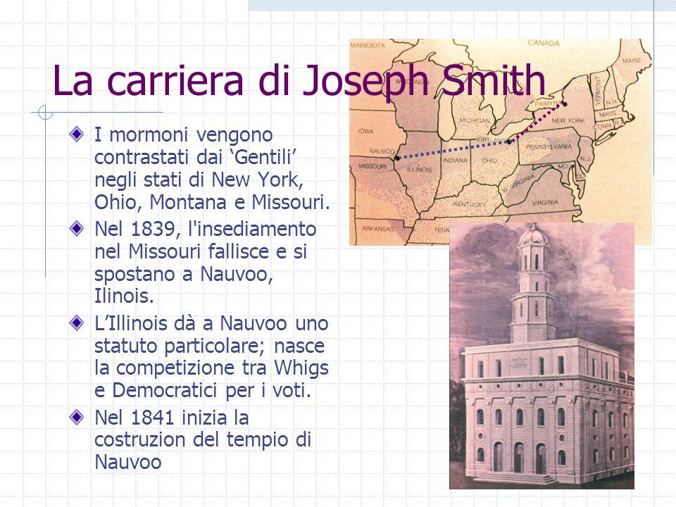 I mormoni vengono contrastati dai Gentili negli stati di New York, Ohio, Montana e Missouri. Nel 1839, l'insediamento nel Missouri fallisce e si spost