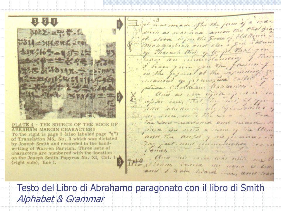 Testo del Libro di Abrahamo paragonato con il libro di Smith Alphabet & Grammar