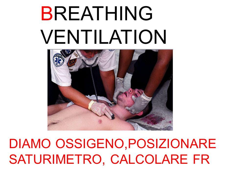 BREATHING VENTILATION DIAMO OSSIGENO,POSIZIONARE SATURIMETRO, CALCOLARE FR
