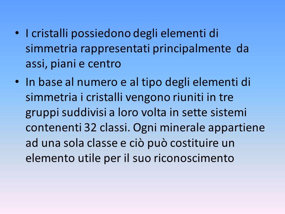 I cristalli possiedono degli elementi di simmetria rappresentati principalmente da assi, piani e centro In base al numero e al tipo degli elementi di