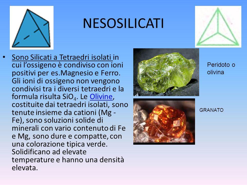 NESOSILICATI Sono Silicati a Tetraedri isolati in cui lossigeno è condiviso con ioni positivi per es.Magnesio e Ferro. Gli ioni di ossigeno non vengon