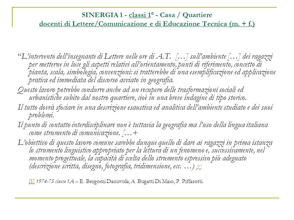 SINERGIA 2 - classi 2° docenti di Matematica/Fisica e di Educazione Tecnica (m.