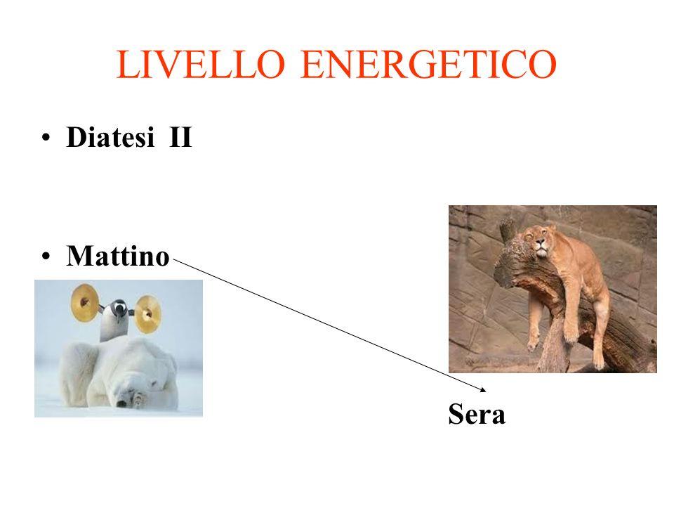 LIVELLO ENERGETICO Diatesi II Mattino Sera