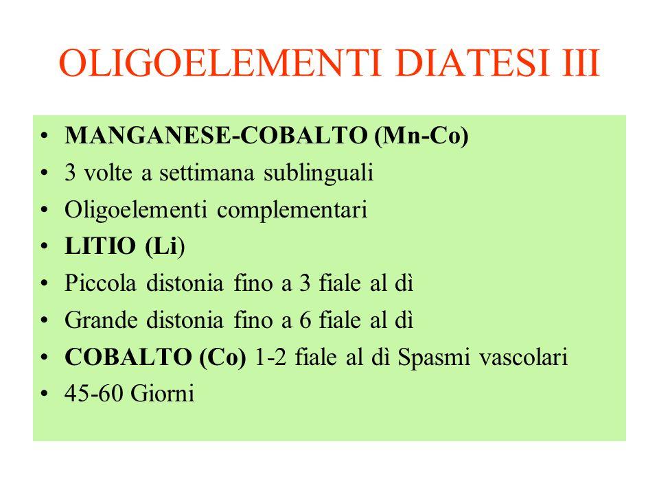 OLIGOELEMENTI DIATESI III MANGANESE-COBALTO (Mn-Co) 3 volte a settimana sublinguali Oligoelementi complementari LITIO (Li) Piccola distonia fino a 3 f