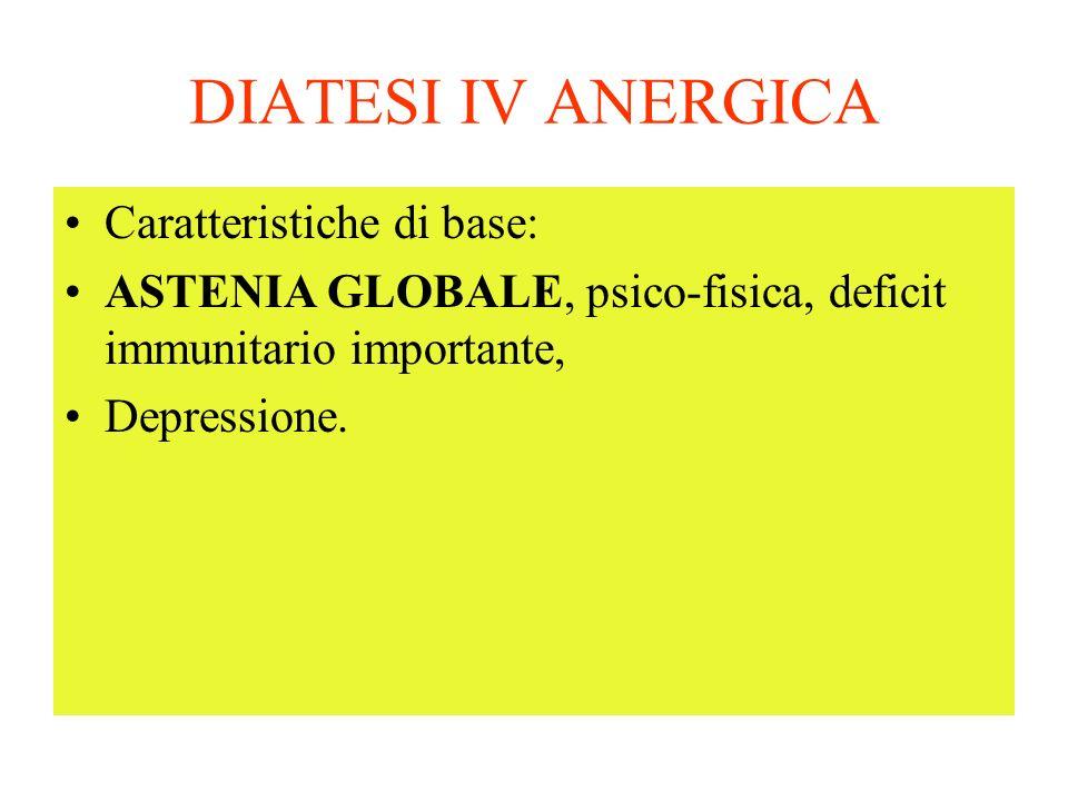 DIATESI IV ANERGICA Caratteristiche di base: ASTENIA GLOBALE, psico-fisica, deficit immunitario importante, Depressione.
