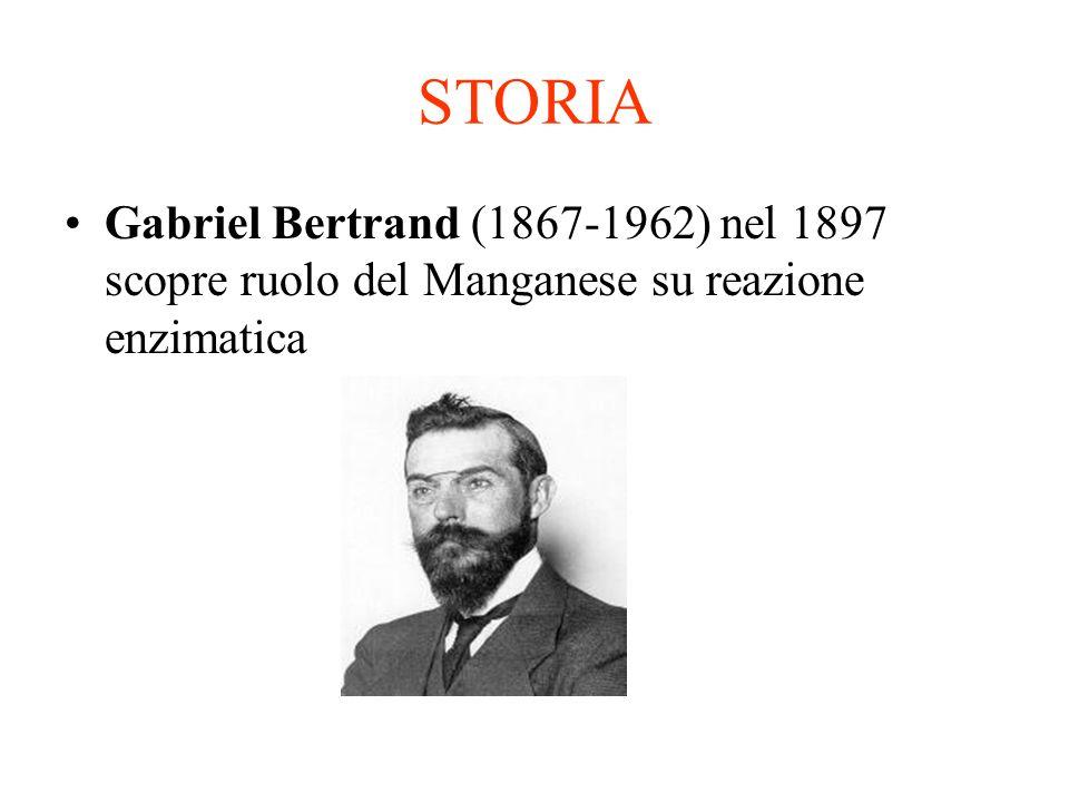 STORIA Gabriel Bertrand (1867-1962) nel 1897 scopre ruolo del Manganese su reazione enzimatica