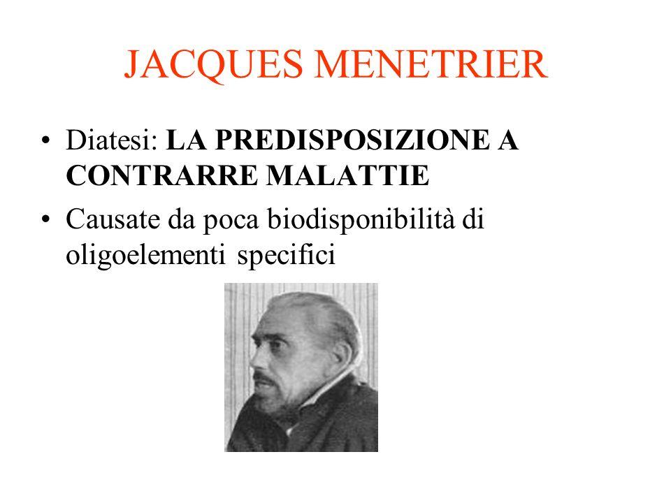 JACQUES MENETRIER Diatesi: LA PREDISPOSIZIONE A CONTRARRE MALATTIE Causate da poca biodisponibilità di oligoelementi specifici