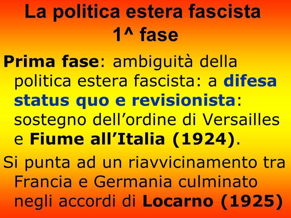 La politica estera fascista 1^ fase Prima fase: ambiguità della politica estera fascista: a difesa status quo e revisionista: sostegno dellordine di V