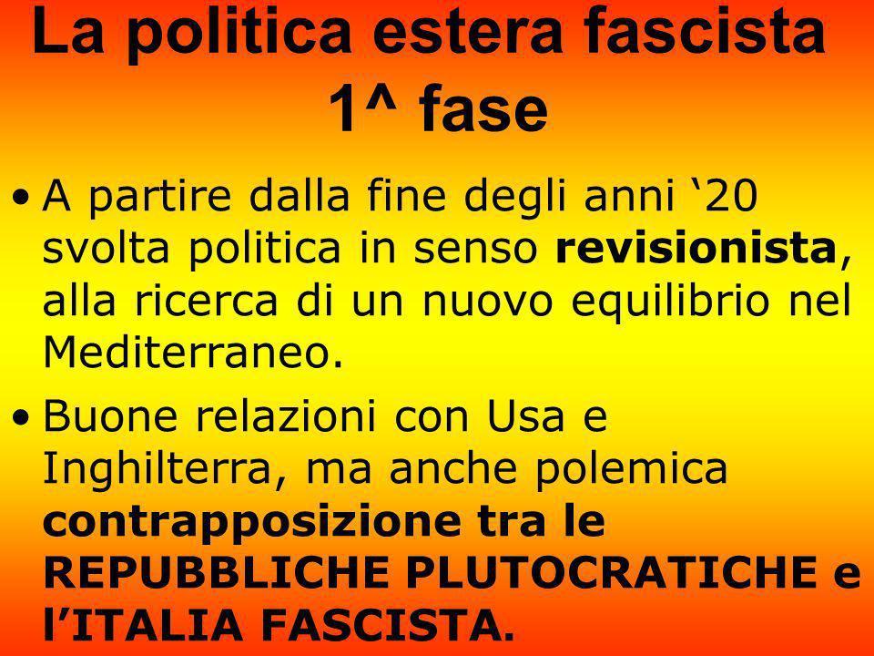 La politica estera fascista 1^ fase A partire dalla fine degli anni 20 svolta politica in senso revisionista, alla ricerca di un nuovo equilibrio nel