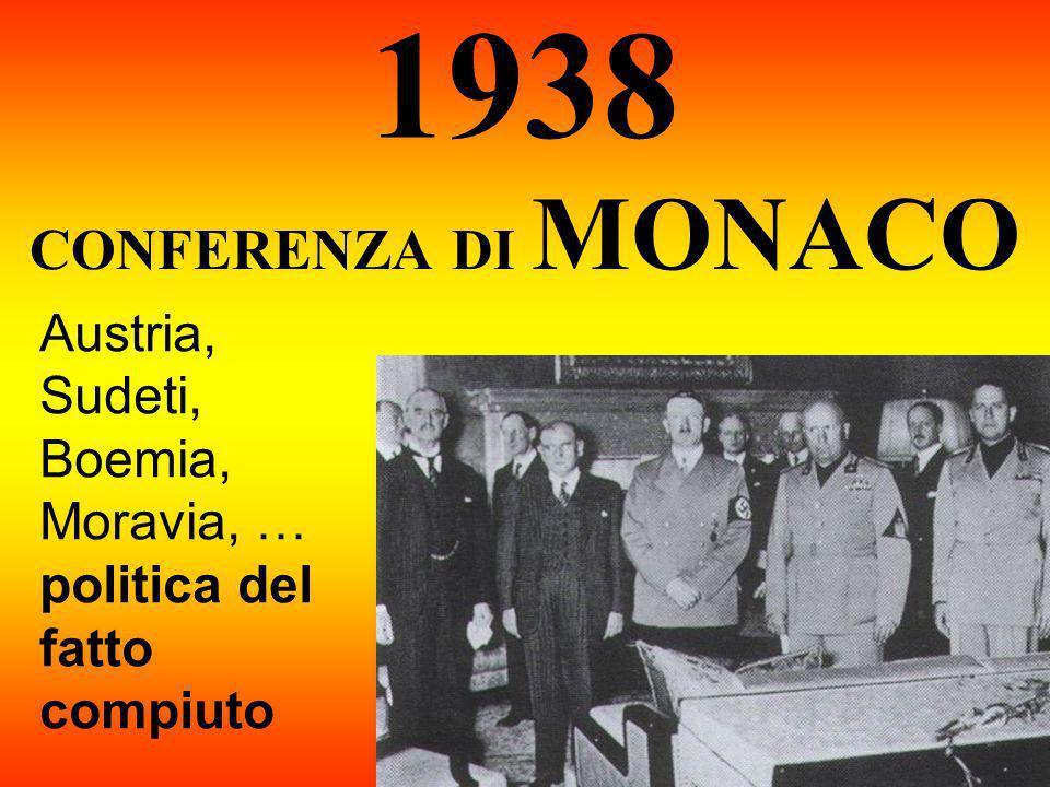 1938 CONFERENZA DI MONACO Austria, Sudeti, Boemia, Moravia, … politica del fatto compiuto