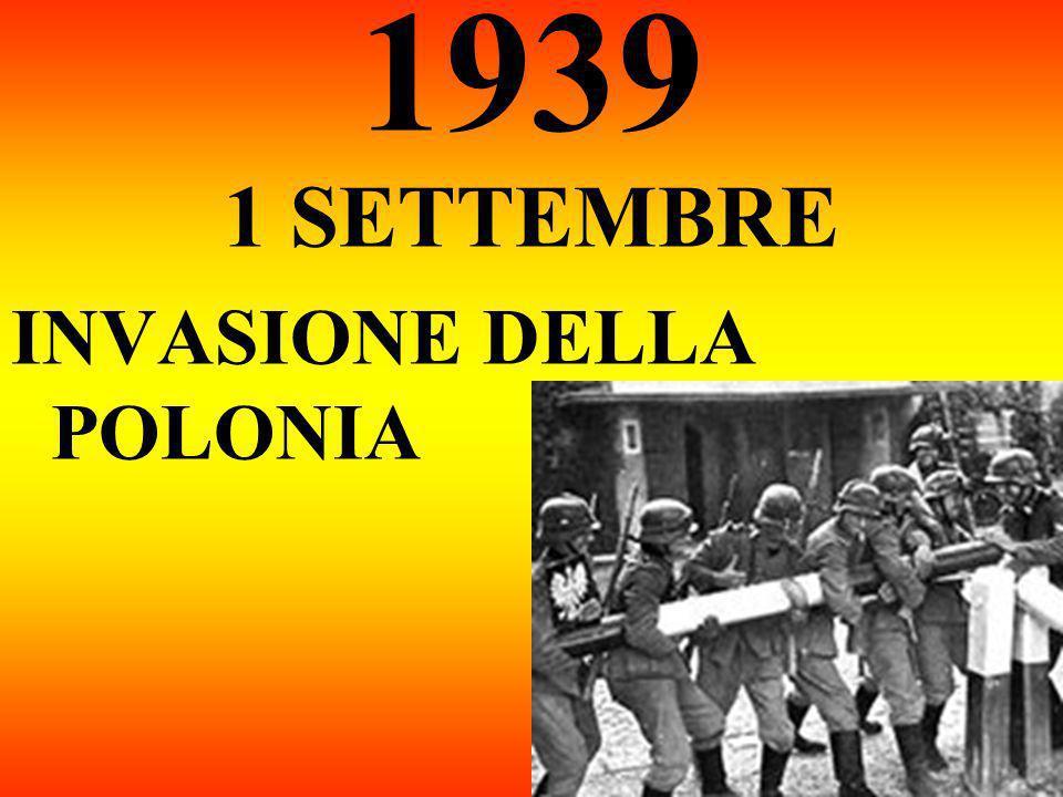 1939 1 SETTEMBRE INVASIONE DELLA POLONIA